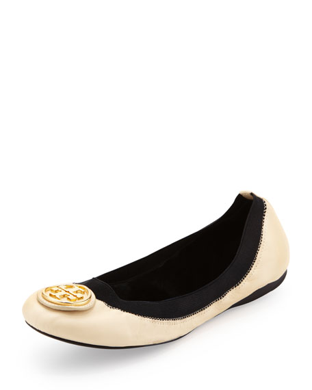 Caroline 2 Leather Stretch Ballerina Flats, Cream/Black