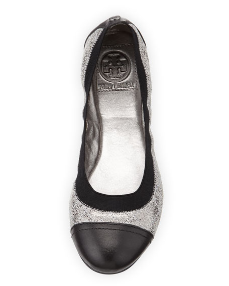 Bridgette Cap-Toe Ballerina Flat, Black