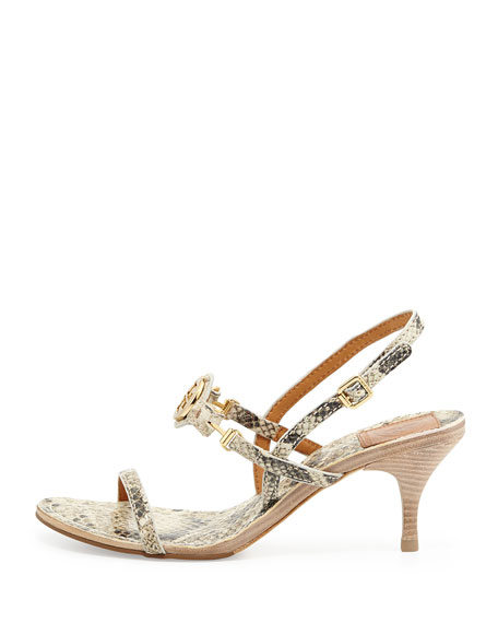 Mira Snake-Print Leather Sandal, Natural