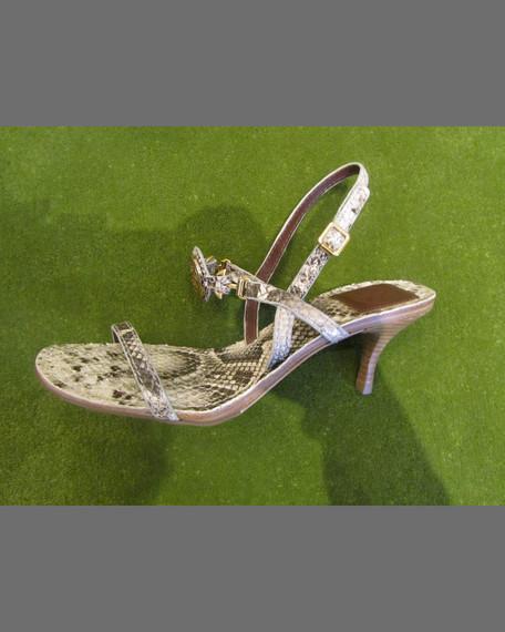 Mira Snake-Print Leather Sandal, Natural