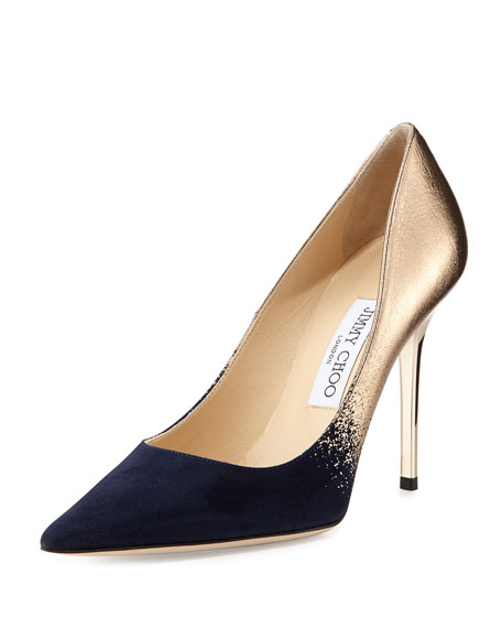 Abel Degrade Point-Toe Pump, Navy/Nude