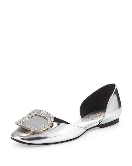 Roger Vivier Chips Metallic Ballerina Flat, Silver