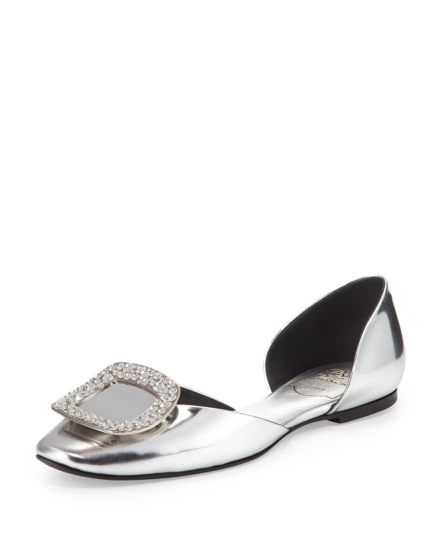 d739218e66a Roger Vivier Chips Metallic Ballerina Flat