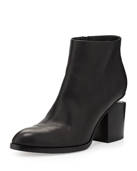 Alexander Wang Leather Bootie with Tilt-Effect Heel, Black