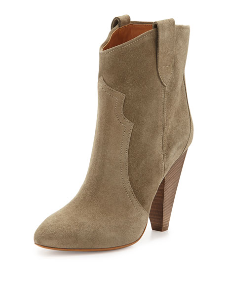 Isabel Marant Roxann Suede Western Boot, Taupe