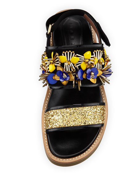 Embellished Glitter Flat Sandal