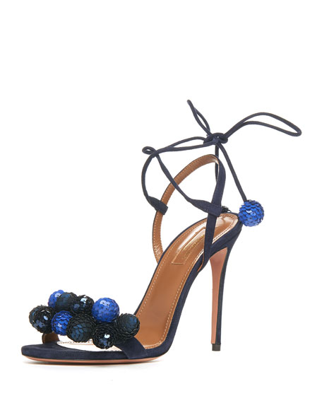 Aquazzura Disco Thing Sequin-Embellished Sandal, Ink