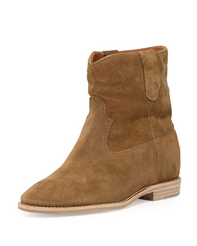 Crisi Western Suede Bootie, Tan