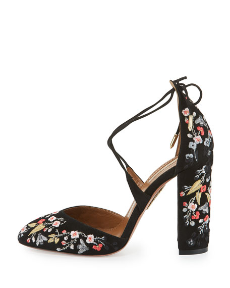 Karlie Embroidered Suede Block-Heel Pump, Black