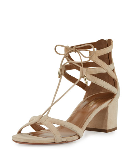 Aquazzura Beverly Hills 50mm Suede Lace-Up Sandal, Nude