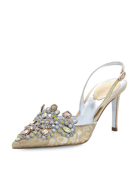 Jeweled Lace & Snakeskin Slingback 75mm Pump, Gold