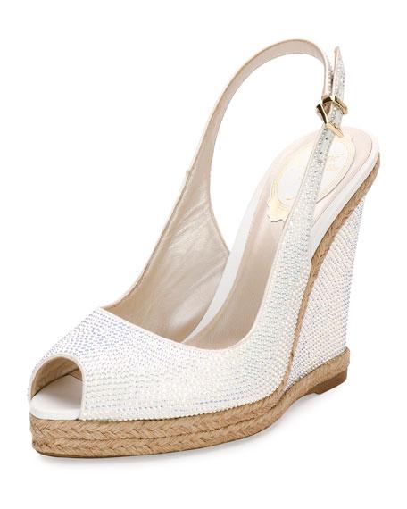 Rene Caovilla Crystal Wedge Espadrille Sandal, White