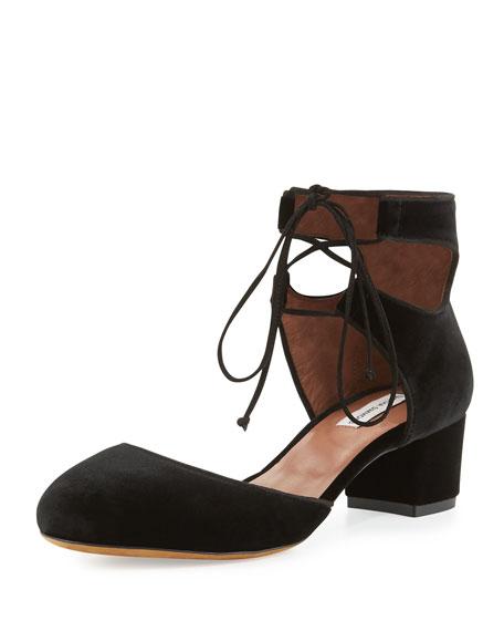 Imogen Velvet Ankle-Cuff Pump, Black