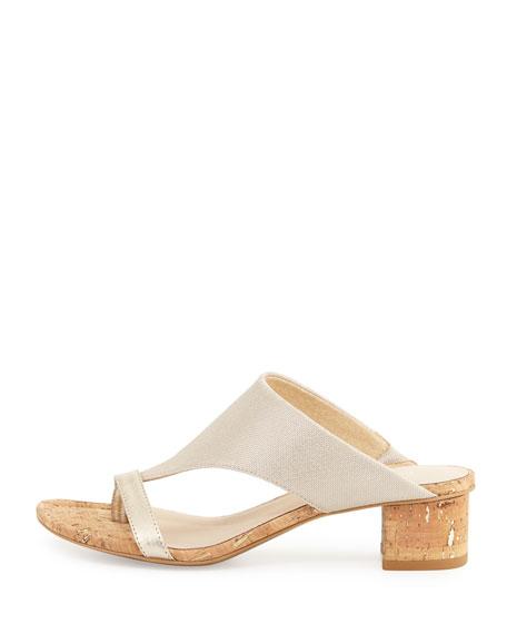 Maara T-Strap Slide Sandal, Platino