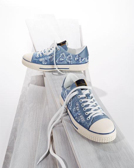 Butterfly-Embroidered Denim Sneaker, Light Denim