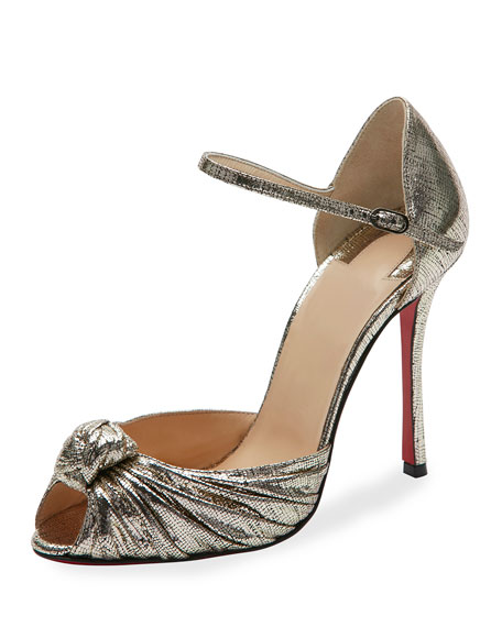 Marchavekel Knotted d'Orsay Red Sole Pump, Gold