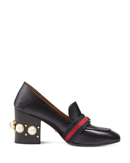 Leather Mid Heel Loafer