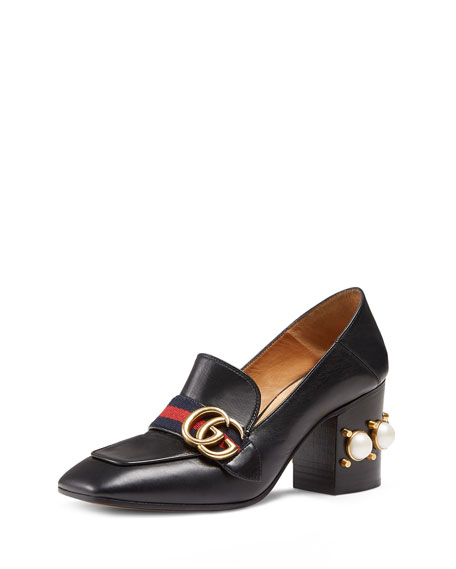 Faux-Pearl Embellished Leather Loafers, Black Leather