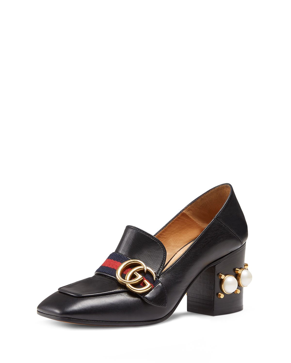 acd7800a0142 Gucci Leather Mid Heel Loafer
