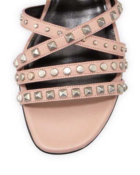 Strappy Studded Flat Sandal, Pale Pink