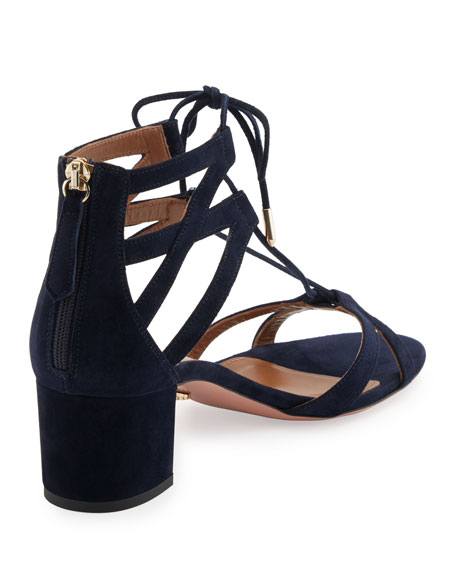 Beverly Hills Suede Lace-Up Sandals, Blue