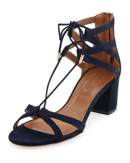Aquazzura Beverly Hills Suede Lace-Up Sandal, Blue