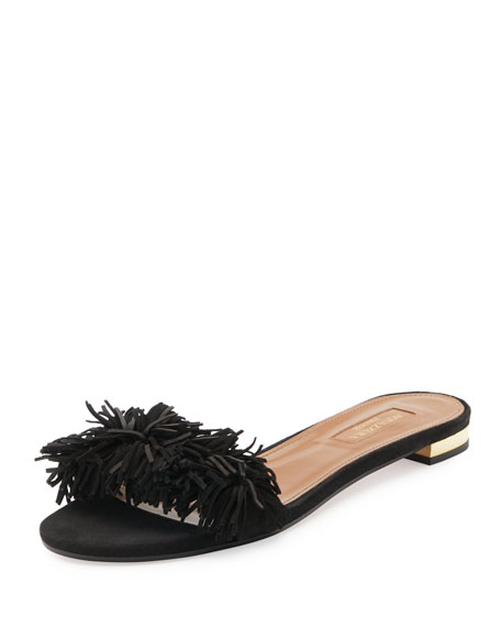 Aquazzura Wild Thing Suede Flat Slide Sandal, Black
