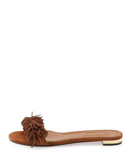 Wild Thing Suede Flat Slide Sandals, Brown