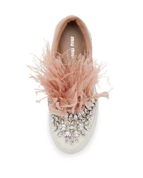 Jeweled Feather Skate Sneaker, Neutral