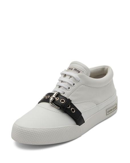 Miu Miu Leather Buckle Low-Top Sneaker, White/Black