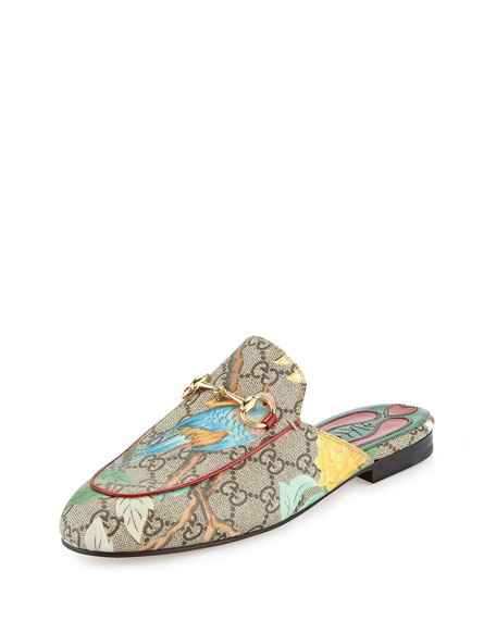 Gucci Princetown GG Canvas Horsebit Mule Slipper Flat,