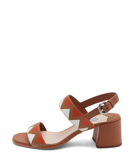 Greca Leather Slingback 55mm Sandal