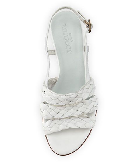 Ginny Woven Leather Slingback Sandals, White