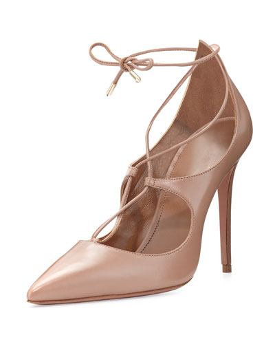 Christy Leather Lace-Up Pump, Biscotto