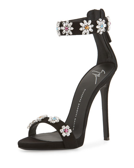 Coline Floral-Crystal 110mm Sandal, Black