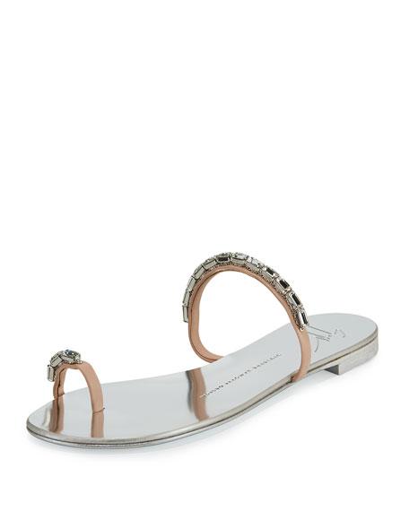 Nuvorock Crystal Slide Sandal, Silver