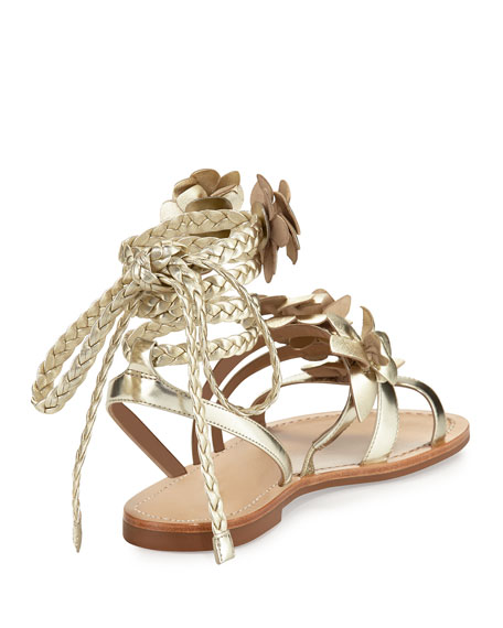Blossom Leather Gladiator Sandal, Gold
