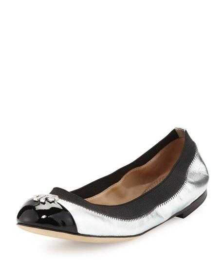 Tory Burch Jolie Logo Ballerina Flat, Silver/Black