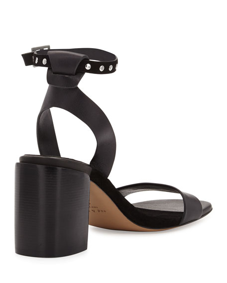 Gia Leather Chunky-Heel Sandal, Black