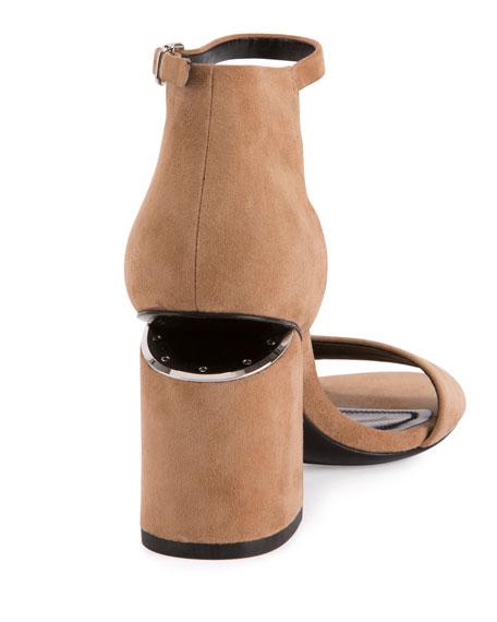 Abby Suede Tilt-Heel City Sandals, Clay