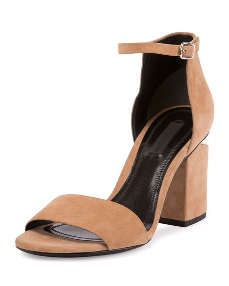 Abby Suede Tilt-Heel City Sandal, Clay