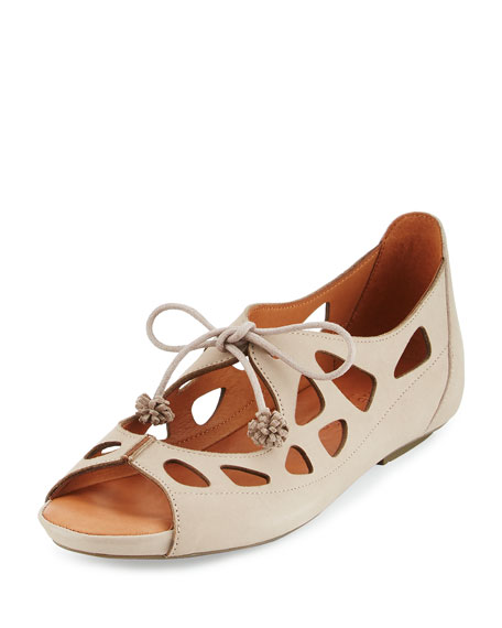Gentle Souls Brynn Nubuck Lace-Up Sandal, Beige