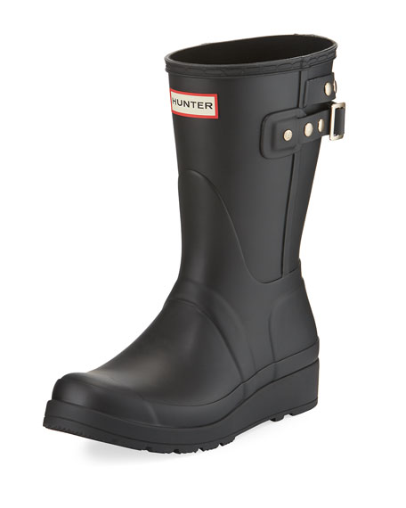 Hunter Boot Original Short Wedge Rain Boot, Black