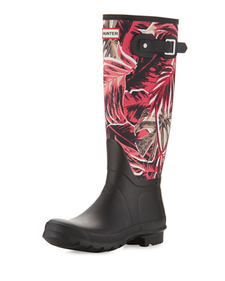 Hunter Boot Original Tall Jungle-Print Rain Boots, Black