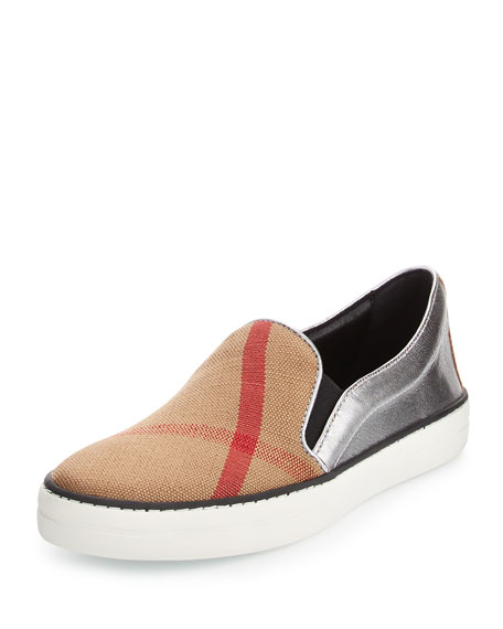 Burberry Gauden Check Canvas & Leather Skate Sneaker,