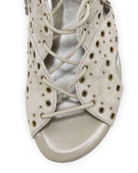 Fabienne Lace-Up Flat Sandals, Gray