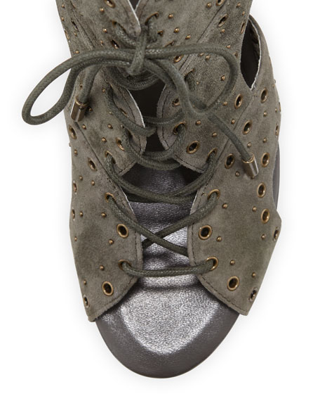 Aeron Suede Lace-Up Sandal, Ash Green