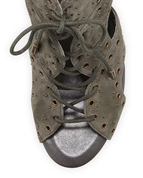 Aeron Suede Lace-Up Sandal, Ash Green