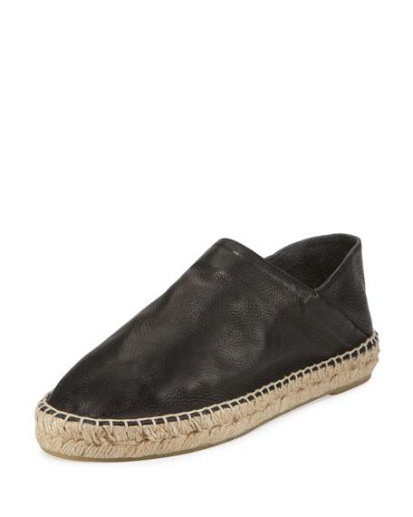 Rachel Leather Espadrille Flat, Black