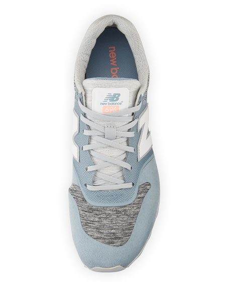 696 Knit Lace-Up Sneaker, Blue